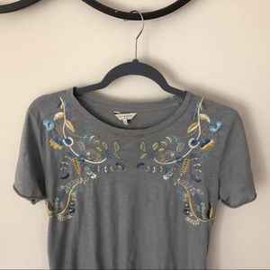 Lucky brand top—detailed floral stitching